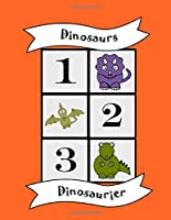 Dinosaurs: Bilingual Colouring Book, Numbers, English German learn language, fun educational activity for kids, preschool, school, multilingual children baby