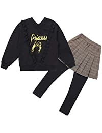 Mornyray 子供服 スウェット トレーナー ズボン スカート 2点セット 女の子 トップス v襟 長袖 レース コットン size 160 (ブラック)