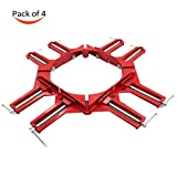 クランプ コーナー 90° 直角 マイター角 固定用 クランプ 4個 セット DIY 工具 木工 (赤 4個)