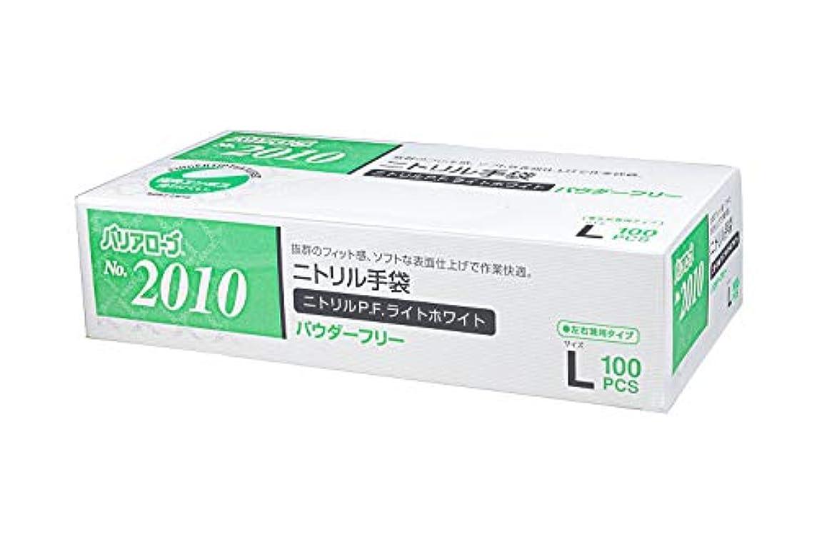 赤道ステッチ掃除【ケース販売】 バリアローブ №2010 ニトリルP.F.ライト ホワイト (パウダーフリー) L 2000枚(100枚×20箱)