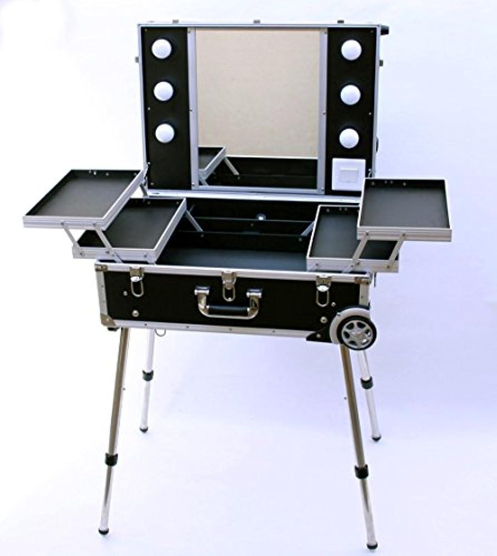 ライム洗うディスコプロ用メイクステーション|自立型キャリータイプ|メイク用品の収納に?プロの出張メイクにも!|Professional Make station (ブラック)
