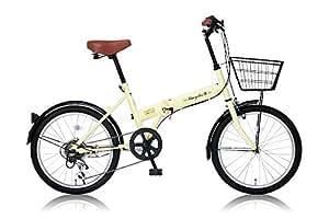 Raychell(レイチェル) 20インチ 折りたたみ自転車 FB-206R シマノ6段変速 フロントLEDライト付 アイボリー