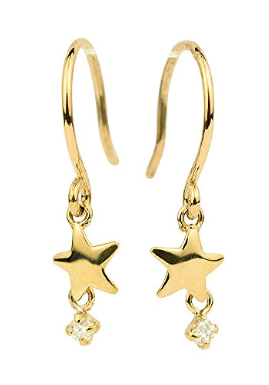 [四葉のクローバー] ダイヤモンド 10金 星 ピアス K10 イエローゴールド 10k 4月 誕生石 レディース アクセサリー 女性 :Sa259