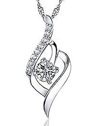 Coyogo S925 SILVER シルバー1粒の滴 大粒 雫 しずく 型 ネックレス ファッション 1.27g しずくペンダントホワイト ダイヤモンド
