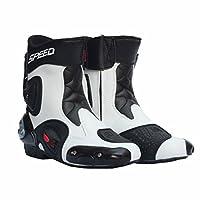 SPEED BIKERS レーシングブーツ プロテクトスポーツブーツ メンズオートバイ靴 バイクブーツ 40サイズ (25-25.5cm) ホワイト