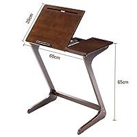 リビング ソファ サイドテーブル 天板角度&高さ調節可能 ベッドサイド ノートパソコンテーブル 竹製 Z型 多機能 おしゃれ ナチュラル ブラウン 原木
