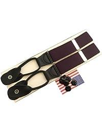 サスペンダー メンズ 紳士 USA製 Braces ブレイス ブレイシーズ Y型 Yバック ボタン止め 伸縮素材 Purple パープル 紫 B041