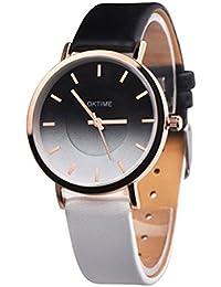 女性レディースクォーツ腕時計パーソナリティトレンドニュートラルテーブルコントラストカラークリエイティブ_黒と白のクリエイティブラウンド防水ブレスレット時計時計合金+ PUレザー