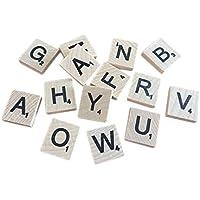 400のセット木製Scrabbleタイル文字with 1ラックホルダーセットボードゲーム、壁の装飾& Arts and Crafts