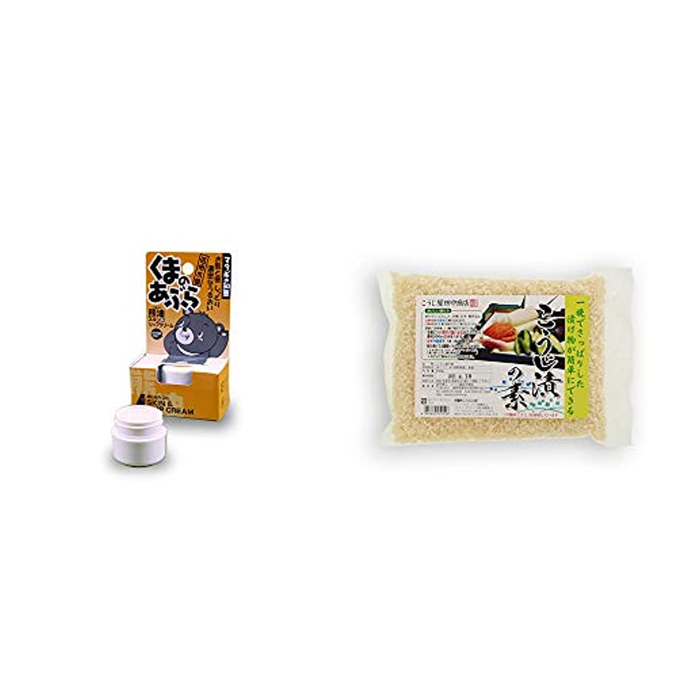 組立温度ケーキ[2点セット] 信州木曽 くまのあぶら 熊油スキン&リップクリーム(9g)?こうじ屋田中商店 こうじ漬けの素(600g)