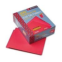 Coloredファイルフォルダ、ストレートカット、強化エンドタブ、手紙、赤、100/ボックス 1-Pack