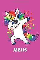 Melis: Personalisiertes Design Notizbuch Einhorn 120 linierte Seiten – Perfekte Geschenkidee fuer die Schuhe oder Weihnachten mit Vornamen DIN A5 (pink)