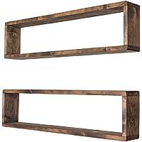 スタッカブルフローティングボックスシェルフ( Set of 2 )  ソリッド木製 壁マウント  Modernファームハウス装飾  8 x 32インチ
