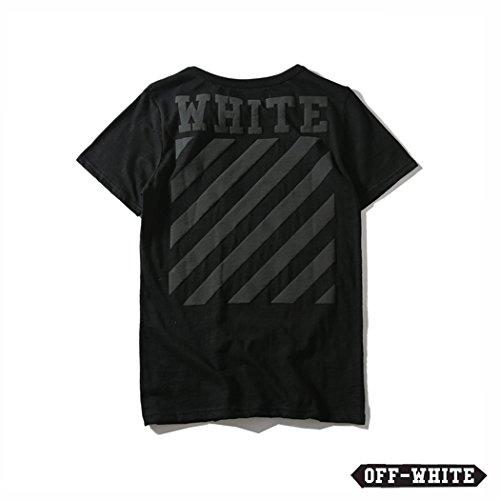 (オフホワイト)OFF-WHITE 新品 夏 メンズ 条紋 柄 プリント 無地 綿 半袖 Tシャツ 男女兼用 18ss (L)