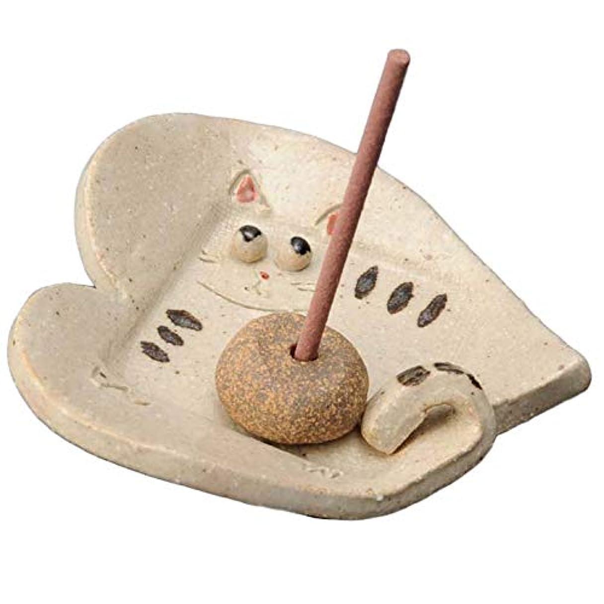 障害者パトロールラッカス手造り 香皿 香立て/しっぽ 猫 香皿/香り アロマ 癒やし リラックス インテリア プレゼント 贈り物