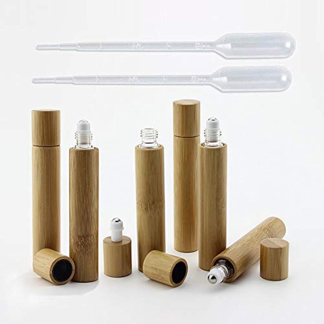 プロジェクター政府八百屋6 Pieces Roll On Bottles 10ml Bamboo Shell Clear Glass Roller Bottles Empty Refillable Essential Oil Roller Bottles...
