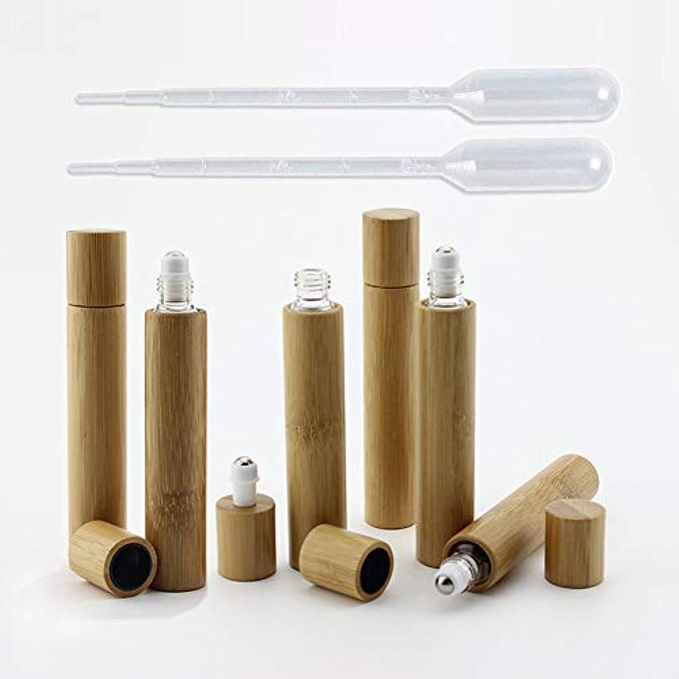 フォーム研究看板6 Pieces Roll On Bottles 10ml Bamboo Shell Clear Glass Roller Bottles Empty Refillable Essential Oil Roller Bottles...