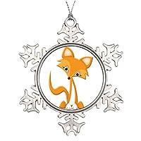 tperse8PersonalisedクリスマスツリーデコレーションかわいいCartoon Fox Familyクリスマススノーフレークオーナメント