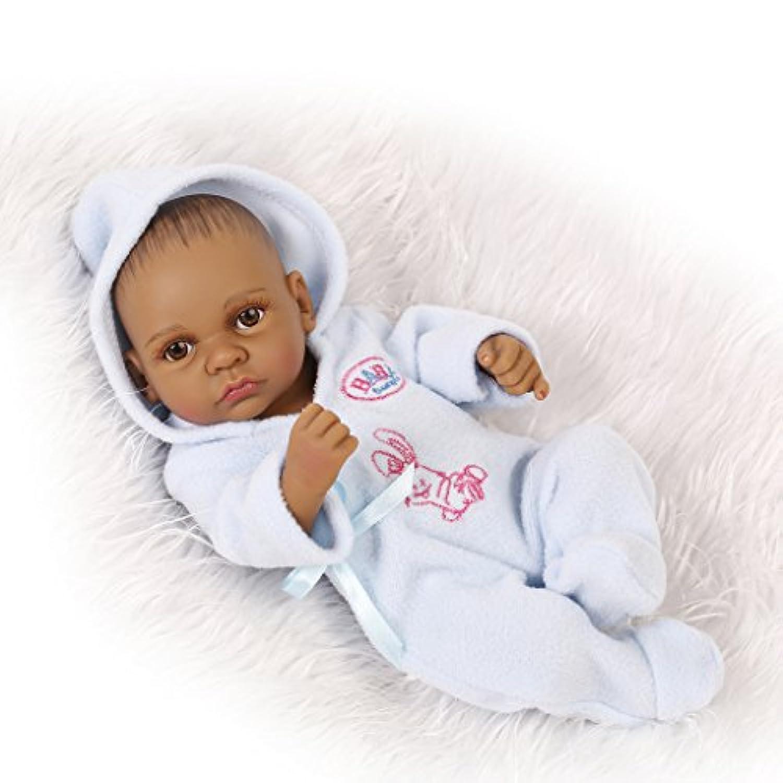 Nicery 人形 アクリルアイズとリボーンベビーバスドールインドスタイルブラックスキンハードシミュレーションシリコーンビニール10インチの26センチメートル防水子供のおもちゃブルーボーイ Reborn Baby Doll Christmas Gift