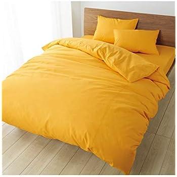 [nissen(ニッセン)] 布団 ベッド カバーセット 無地 綿100% (掛布団カバー + シーツ + ピローケース) オレンジ ベッド用 ダブル 4点セット