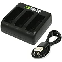 Wasabi Power Battery Triple Charger for GoPro HERO6, HERO5, HERO 6, HERO 5 Black (v03 for all Firmware Updates) (Triple Charger)