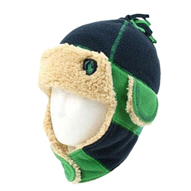 冬のベビーキッズ暖かいイヤーマフ帽子スカーフぬいぐるみフライトベストギフトグリーンキャップ