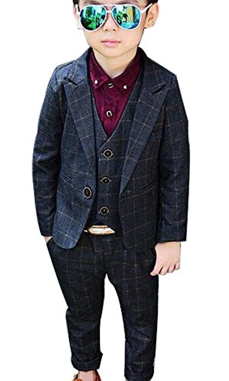(チェリーレッド)CherryRed 男の子 チェック柄 かっこいい フォーマル スーツ 3点セット