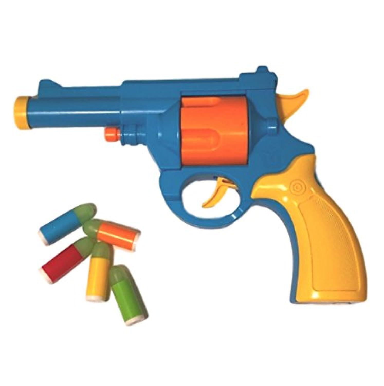 【BAZInGA】回転式 拳銃 リボルバー タイプ 玩具 カラフル トイ ガン おもちゃ 鉄砲 ソフト 弾 ピストル サバゲー (青, Revolver)