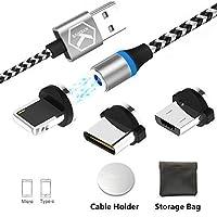 マイクロUSBタイプC磁気充電USBケーブル、Android用同期型LED付きマルチ3-in-1ケーブル充電アダプタ - 同期データなし。高速充電(1M / 3.3ft-3)