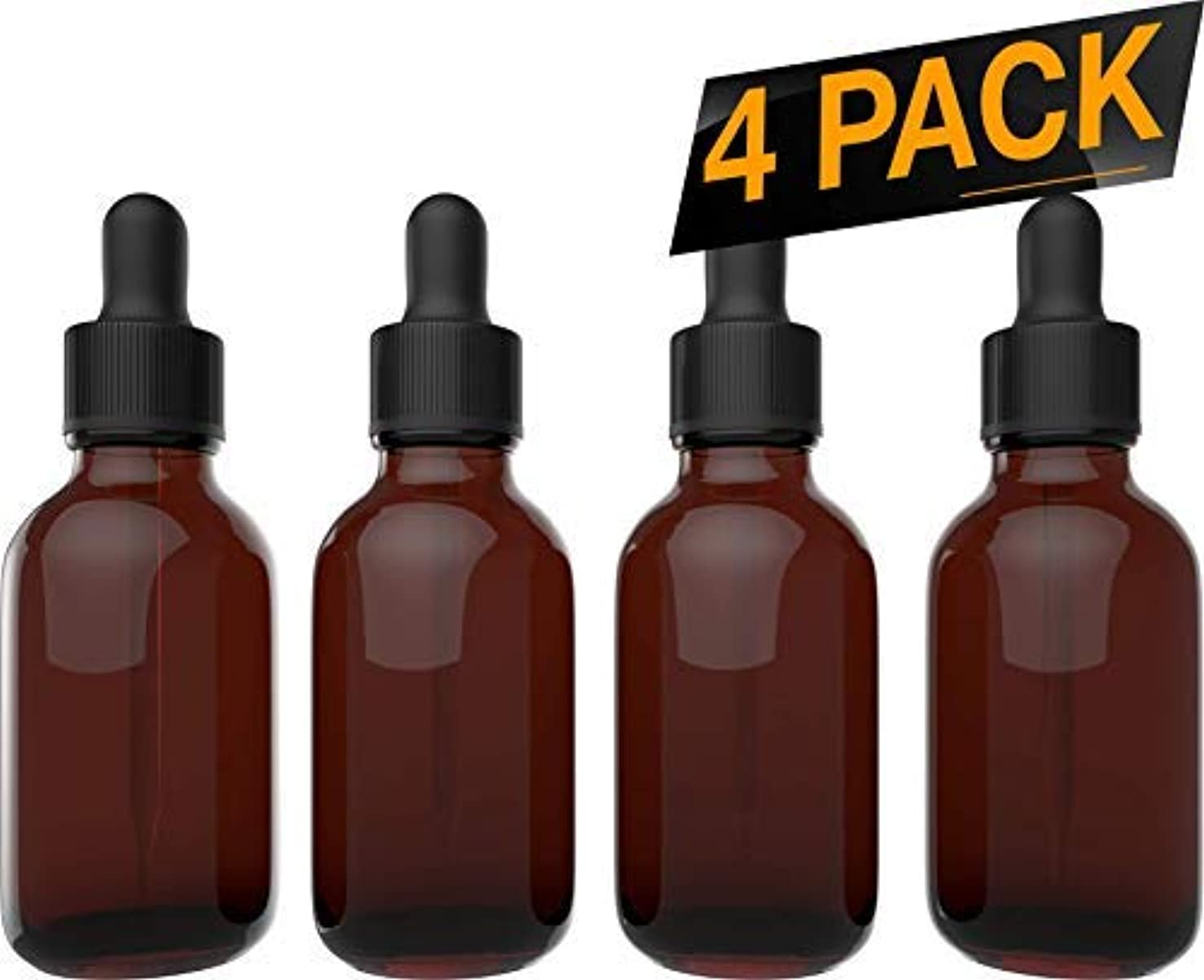 チャネルプリーツブルゴーニュEssential Oil Bottles - Round Boston Empty Refillable Amber Bottle with Glass Dropper for Liquid Aromatherapy Fragrance Lot - (2 oz) 60ml … (4 Pack) [並行輸入品]