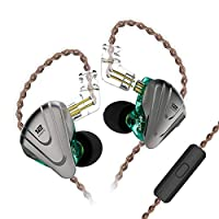 KZ ZSX 5BA 1DD 12ユニット ハイブリッド テクノロジー スポーツHIFI インイヤーイヤホン リケーブル可能 0.75 ㎜2Pin 高音質 重低音 カナル型イヤホン (マイク付き, シアン)