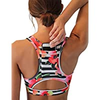 DaiLiWei Women Sport Bra Back Pocket Running Yoga Bras Padded High Impact Workout Racerback Activewear