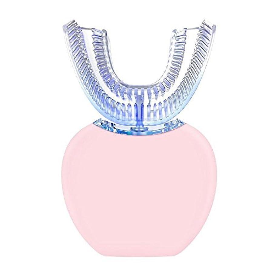 征服するカイウスしつけ【Cheng-store】自動周波数超音波電動歯ブラシ360° 怠惰な歯ブラシ白い歯の器具 自動ハンズフリー白色発光 ブラシヘッドをU字型4選択可能なモード