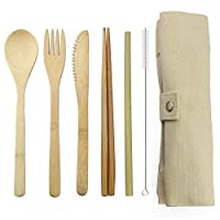 竹製カトラリーフラットウェアセット 竹製トラベル用品、再利用可能なナイフフォークスプーン箸ストロー付き(ベージュ)
