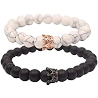 YOGA GEMSTONE JEWELRY Distance Bracelets with Jewelry Bag & Meaning Card | Strong Elastic | Friendship Relationship Couples His Hers | Black Agate Onyx White Howlite CZ Crown Stretch Bracelet
