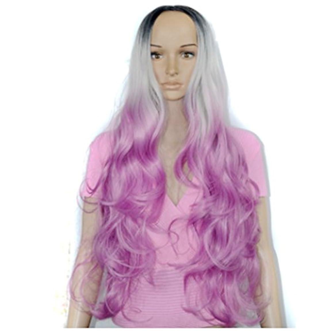 アリ弱まる最も遠いJIANFU 女性 コスプレ ウィッグ ナチュラル ミディアム 長い 巻き髪 ウィッグ カラー グラデーション アニメ (色 : Color gradient)