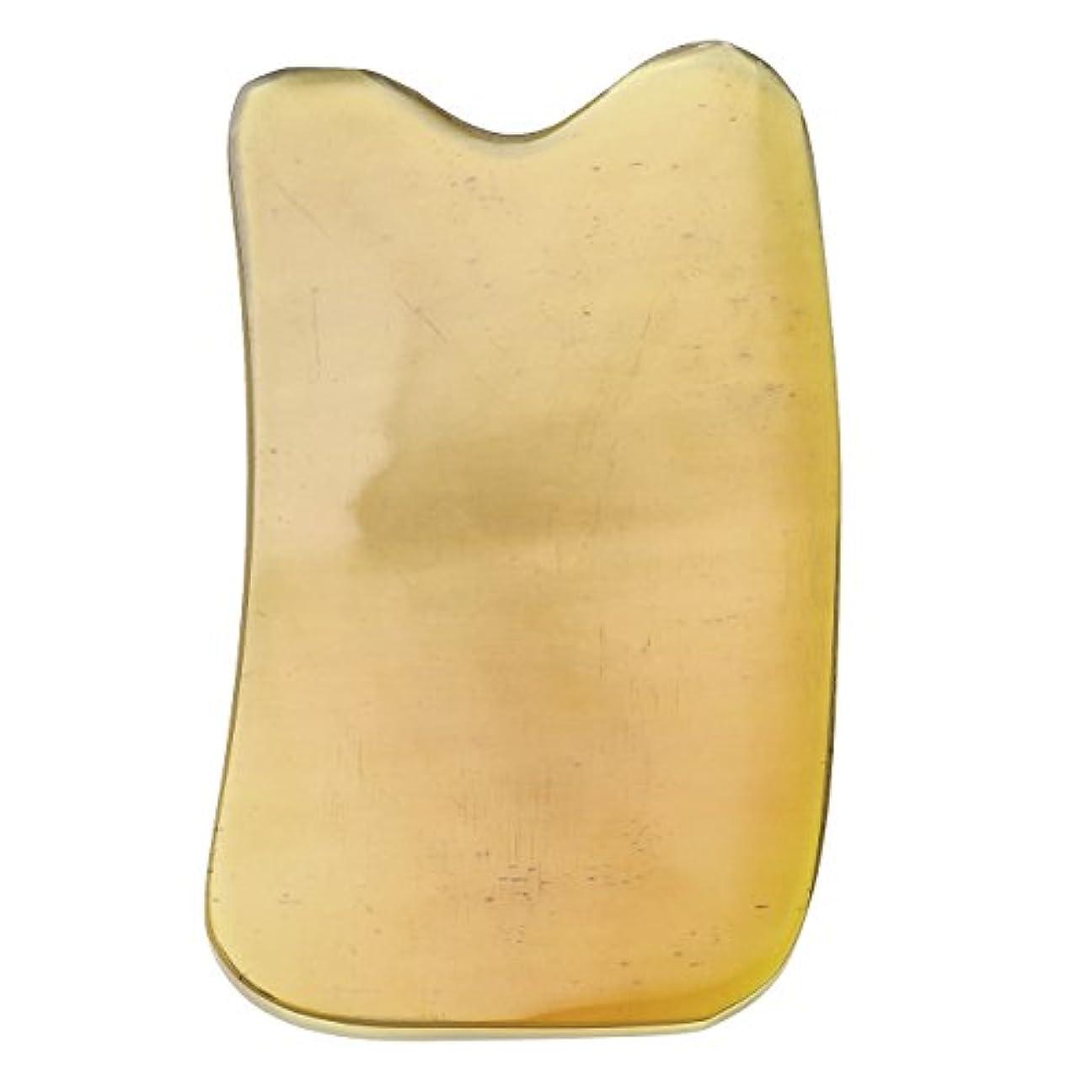 ルーキー伝導率クロスJovivi Mak カッサリフトプレート 黄色 牛角 パワーストーン カッサ板 美顔 カッサボード カッサマッサージ道具 ギフトバッグを提供 (凹形)