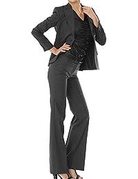 パンツスーツ リクルートスーツ レディススーツ ブラック ストライプ 就活 9号 上下別サイズ対応スーツ