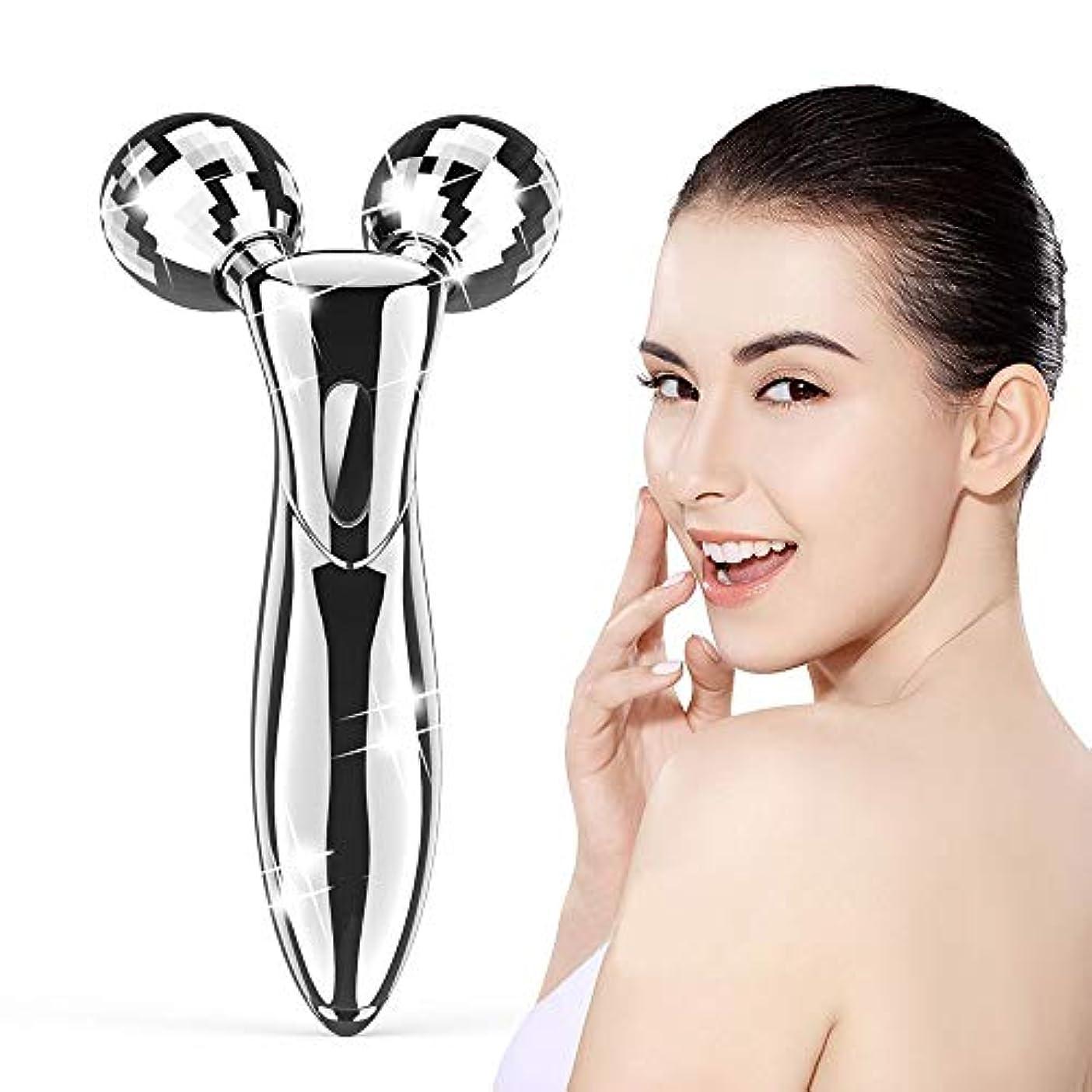ワーム冷蔵庫大人美容ローラー 美顔ローラー フェイスローラー 美顔器 V字型 マイクロカレント マッサージローラー 3D ボディーローラー 充電不要 ほうれい線改善 防水 ギフト