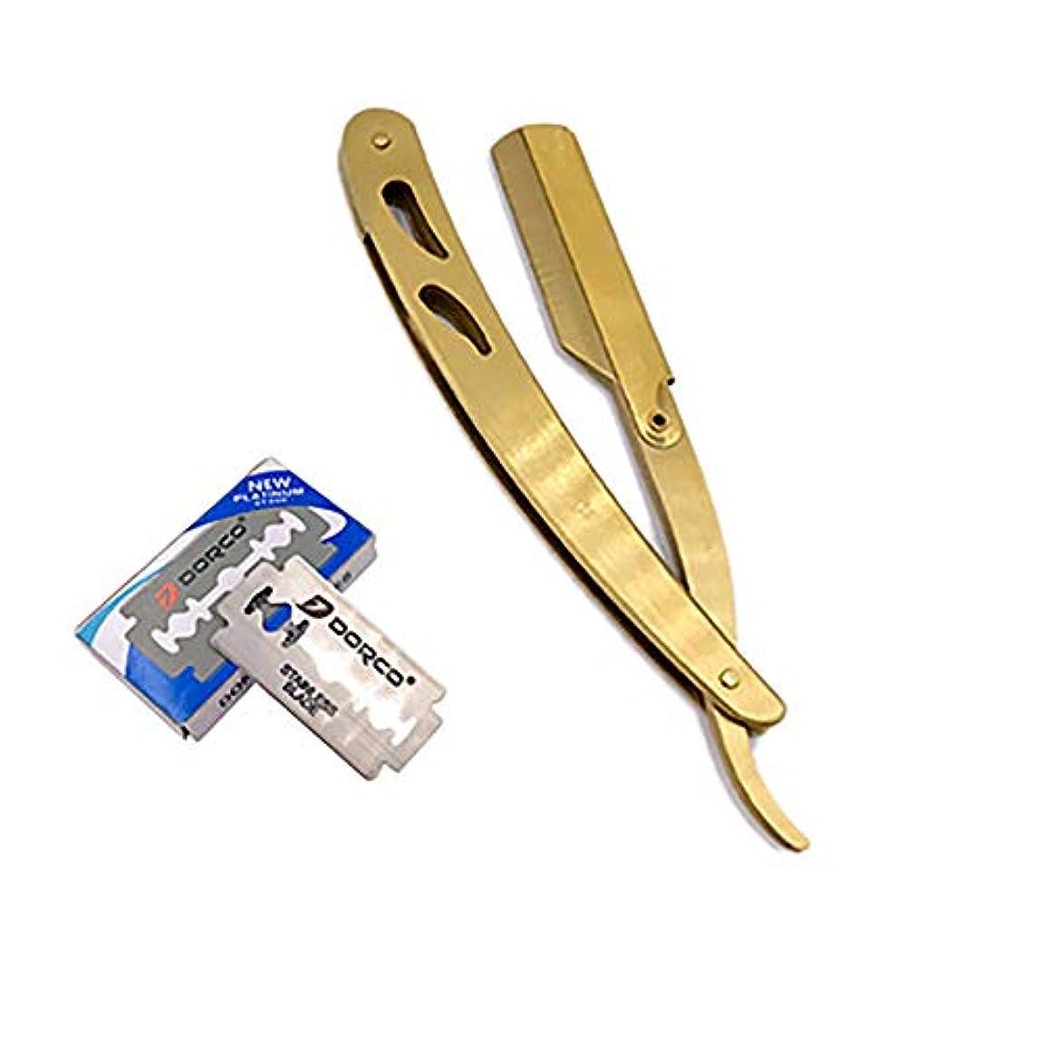 レンダー天必要ステンレス鋼ストレートかみそり、ストレートエッジかみそり折りたたみシェービングナイフマニュアルひげシェーバー理髪シェーバーツール,Gold