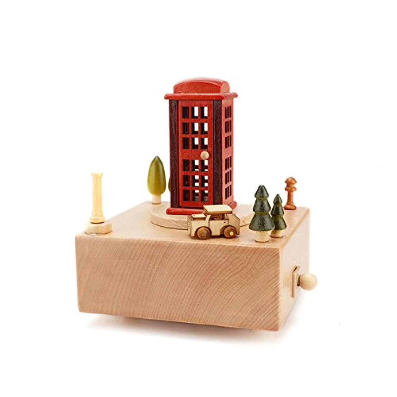 Wholehot オルゴール 木製 ミュージカル ボックス(ラピュタ) 電話ブース  おもちゃ 誕生日 バレンタイン クリスマス 新築祝いプレゼント ロマンティックな雰囲気 お部屋 インテリア雑貨 置物