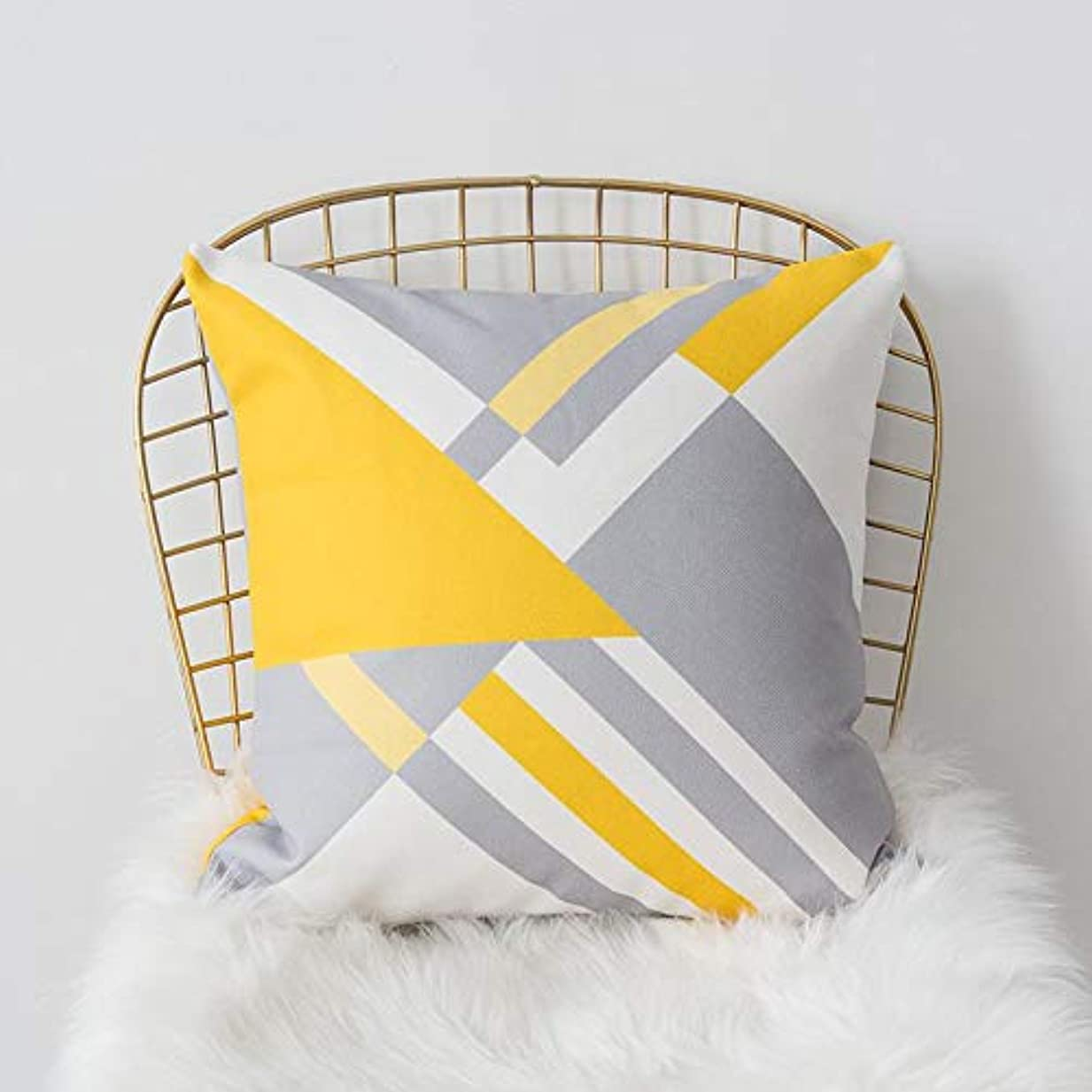 乱す広がり知覚的SMART 黄色グレー枕北欧スタイル黄色ヘラジカ幾何枕リビングルームのインテリアソファクッション Cojines 装飾良質 クッション 椅子