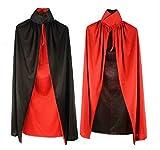 ハロウィン 衣装 大人 子供 コスプレ 仮装 変装 ドラキュラ マント フードなし 赤黒 リバーシブル 黒 単色 (90cm, 赤黒)