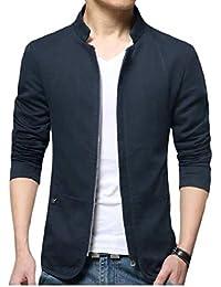 Sodossny-JP メンズジッパーロングスリーブスタンド襟リネンスリム洗浄ジャケットコート