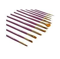 絵筆12本セット 水彩絵筆 アクリル絵の具 油絵 キャンバス セラミック 粘土 木製 モデル 子供へのギフトに最適 WG-OFFICE-005-12SET