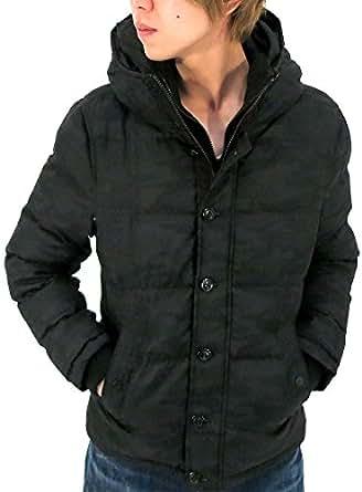(マルカワジーンズパワージーンズバリュー) Marukawa JEANS POWER JEANS VALUE アウター メンズ 冬 スリム 防寒 中綿 ダウン ジャケット コート ファー フード ジップアップ カジュアル ストリート ブルゾン アウター 防風 保暖 メンズ 2color LL ブラック