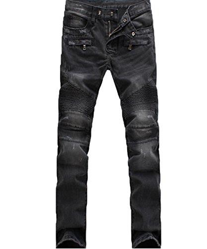 バイクパンツ ジーンズ デニム パンツ ライダース ブラック...