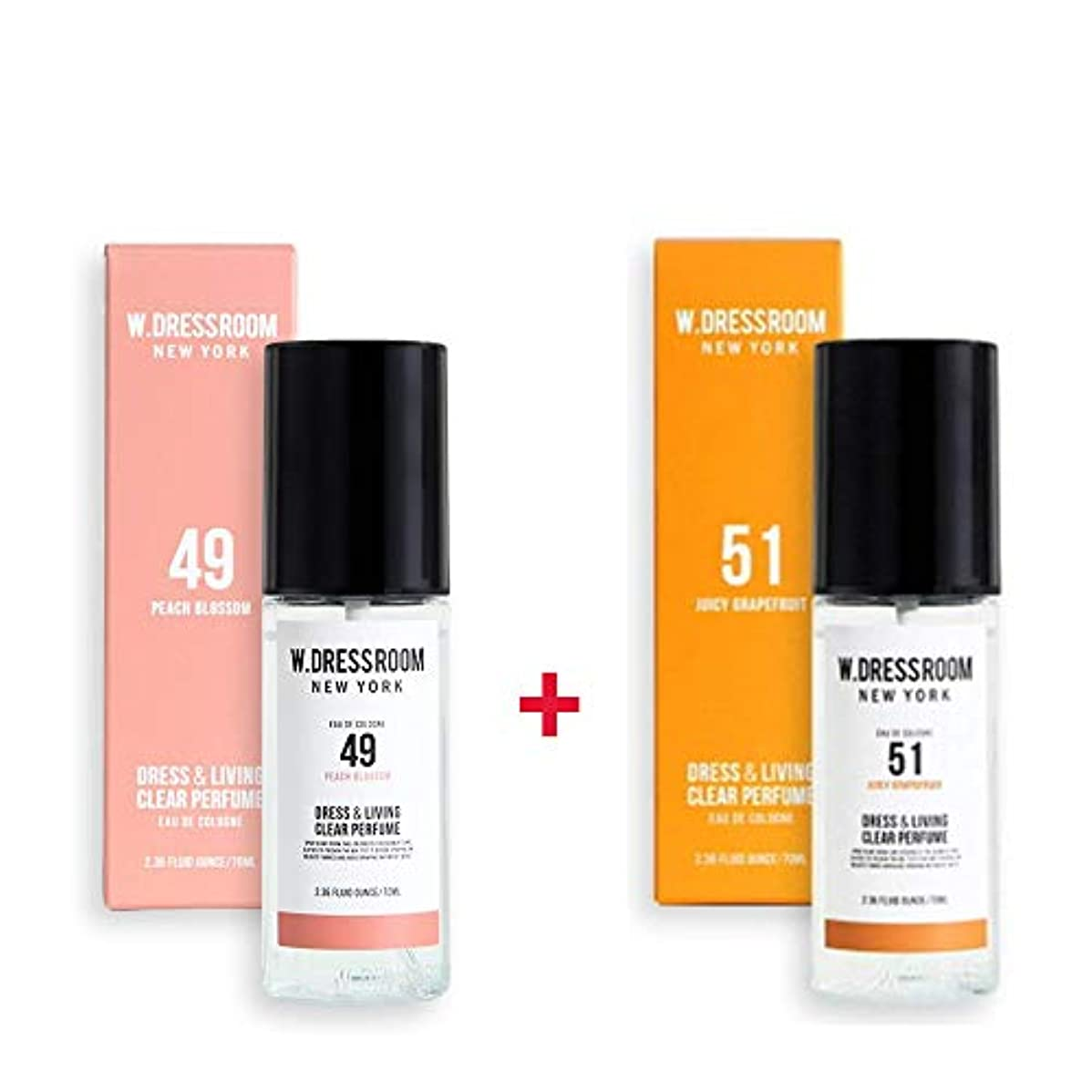 口ひげ有効破壊的W.DRESSROOM Dress & Living Clear Perfume 70ml (No 49 Peach Blossom)+(No 51 Juicy Grapefruit)