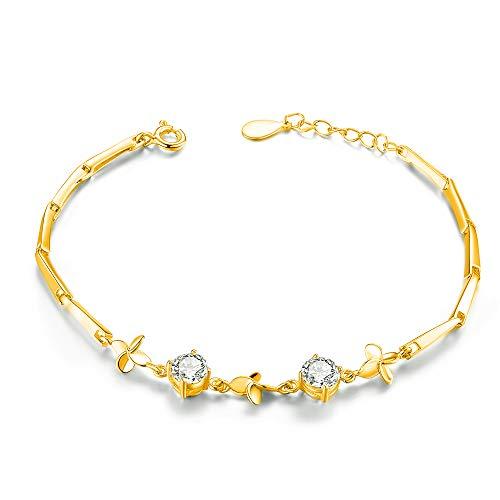 sassu fine(サスファイン)スワロフスキージルコニア 925純銀製 幸運を呼ぶクローバー ブレスレットレディース バングル 腕輪 ジュエリーボックス付き (ゴールド)