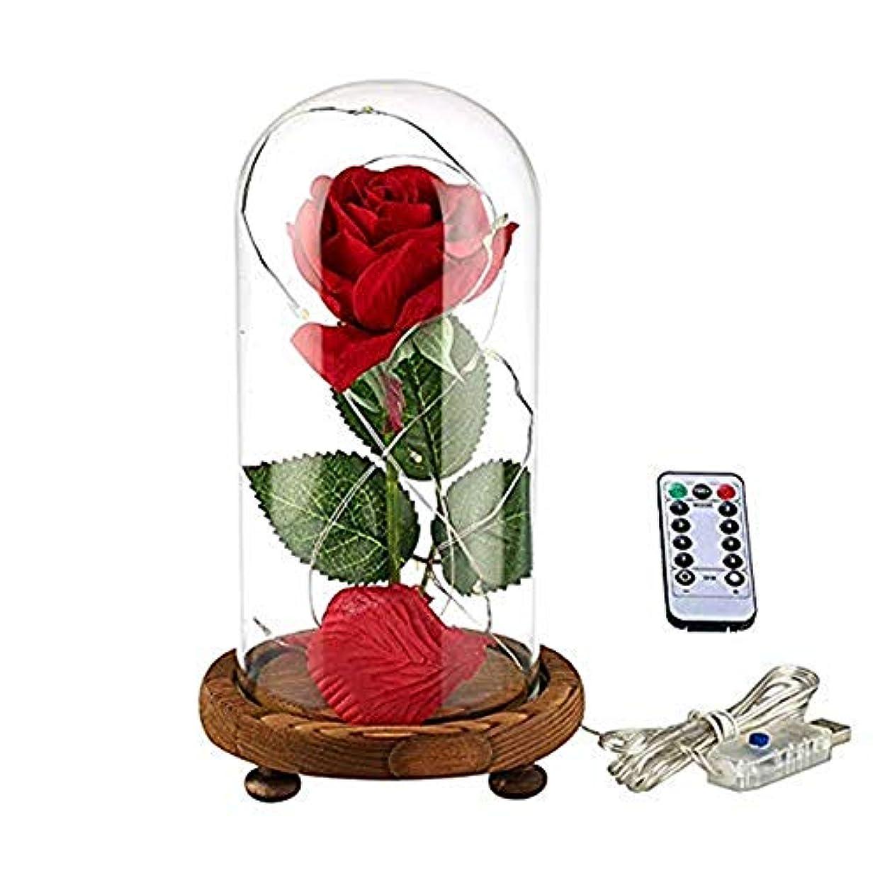 太陽単に甘やかすYSYDE 美と獣のバラのキット魅惑のバラの赤い絹のバラは、バレンタインの贈り物の結婚記念日の誕生日の贈り物のためのドームで最高の贈り物を導きました母の日ギフト